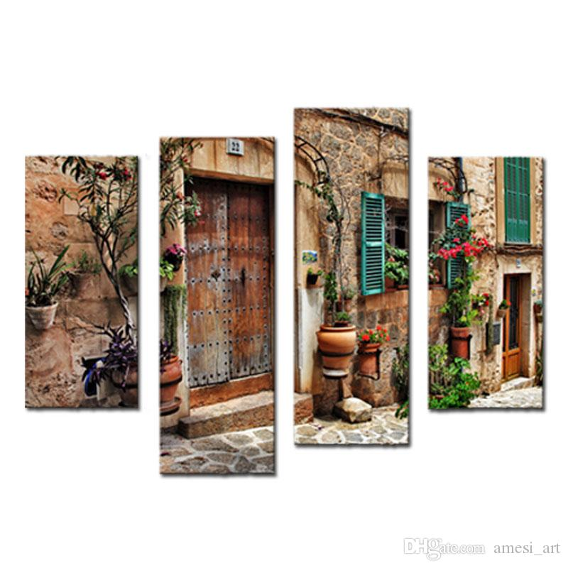 4 Picture Combination Wall Art Streets Of Old Mediterranean Towns Flower Door Windows Painting The Picture Print For Home Decoration
