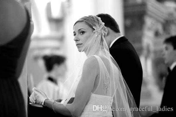 Veil de mariage court ivoire en nylon doux avec cristaux Voile Mariage Accessoire Mariage Mantilha de Noiva Veils
