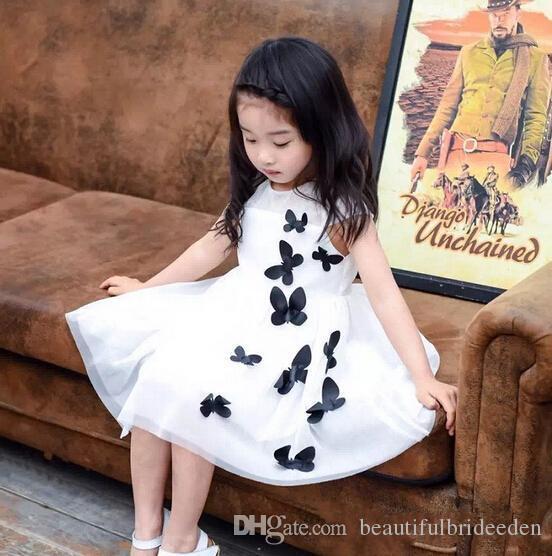 2016 новое прибытие мода с коротким рукавом Butteryfly марлевое платье дети летнее платье Детская одежда прекрасное платье 2 цвета PH7821
