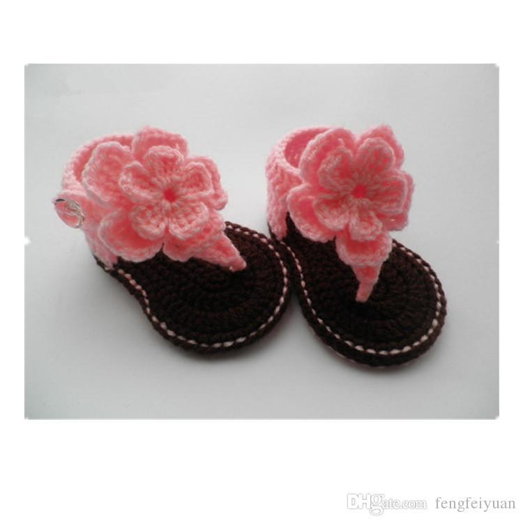 bebé niña niños zapatos crochet hechos a mano ganchillo tejido suave fondo de verano zapatos para niños 6-12m Chaussure Bebe Fille