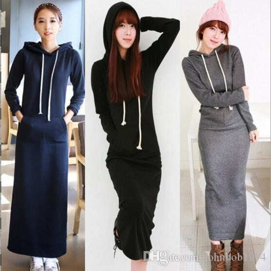 fc33c0b77a2f 2019 2017 Spring New Korean Black Gray Sweater Dress Plus Size Women S  Sport Casual Sweater Fleeced Hoodies Long Sleeved Slim Maxi Dresses From  Johnbob1994