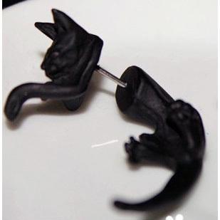 11/11 nuovo popolare coda lunga leopardo orecchini nero piercing gatto orecchini le ragazze ragazzi donne mens 12 pz / lotto finto tappi le orecchie