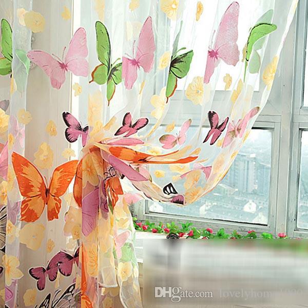 Quarto divisor Pelmets borboleta impressão Sheer Curtain Panel Janela Varanda Tulle