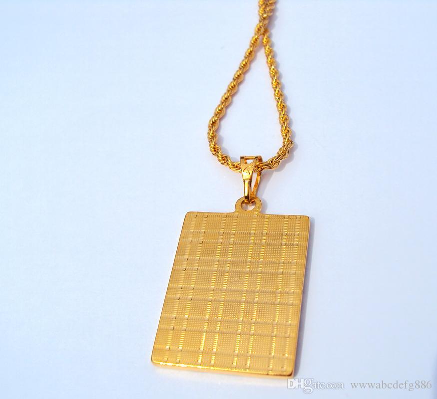 Faith Solid Gold gefüllt 24K Seil Kette Square Anhänger Schmuck 600mm