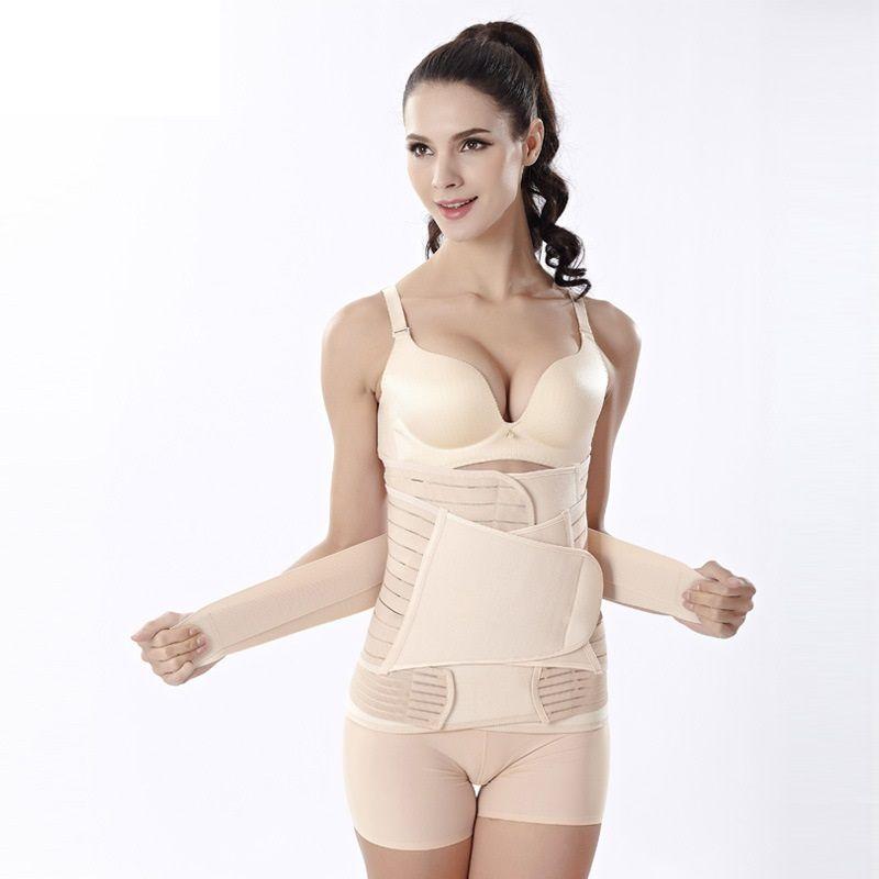 2016 nouvelles femmes post-partum récupération corset ventre / taille / ceinture de bassin amincissant la bande de soutien du corps 3 en 1