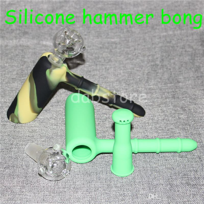 Wholesale Mini Hammer Bubbler Silicone Water Pipe Ash Catcher Inline Percolator Hand Glass Bongs Oil Rig Mix Colors silicone blunt bong DHL