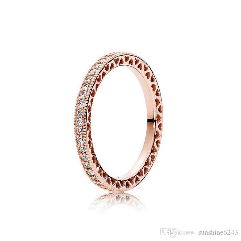 وارتفع الذهب مطلي 925 خاتم فضة قلوب من الأوروبي باندورا نمط مجوهرات سحر عصابة هدية