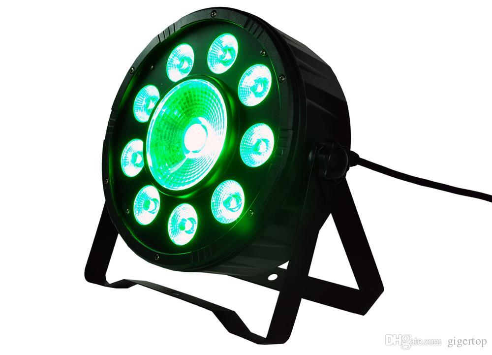 Wholesale Price 20XLOT 80W ED Flat Par Light RGB DMX Control Party Disco Xmas Bar DJ Stage Lighting 1x30W + 9x3W Linear Dimming