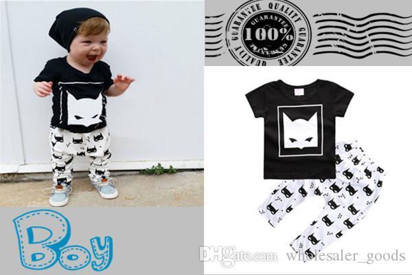 2016 Cotton Child Printed Suit Newborn Infant Kids Baby Girls Batman T-shirt With Pants Outfits Clothes Set Boys Clothing Sets Girls Sets