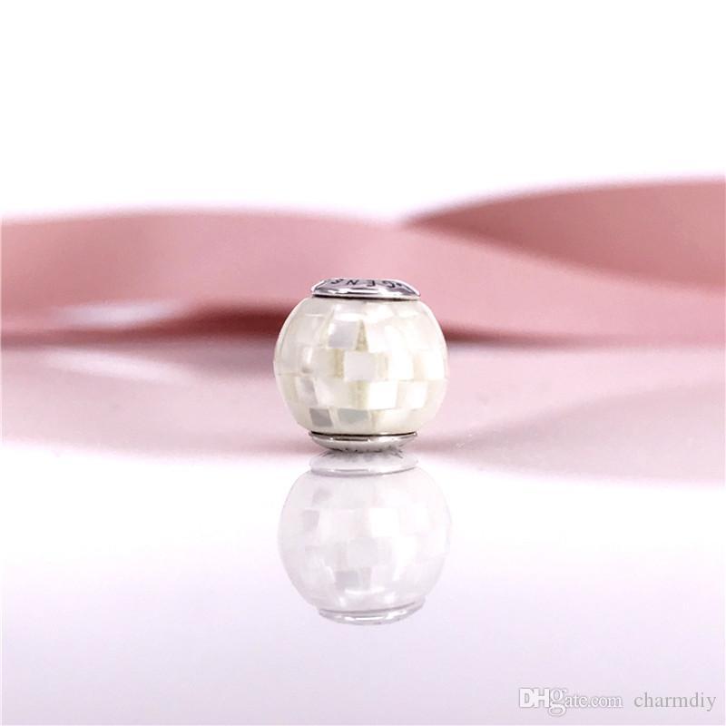 Стерлингового серебра бусины GENEROSIT сущность коллекция шарм с белым перламутр мозаика, пригодный для ювелирных изделий браслеты 796079MMW