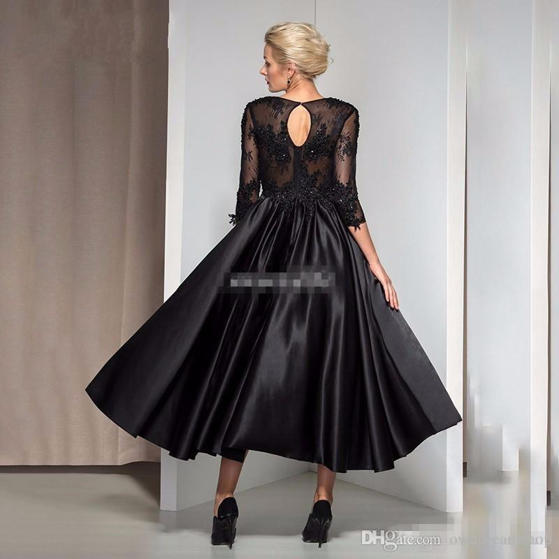 Vintage Tea Length Formal Evening Dresses Black Satin with 3/4 Sleeve Keyhole Back Applique Beads Cheap 2016 Mother of the Bride Gowns