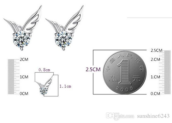 Angel Wings Earring Women Party Stud 925 Sterling Silver Earring Casual Brand Crystal Retro High Quality Hot Sale Earrings