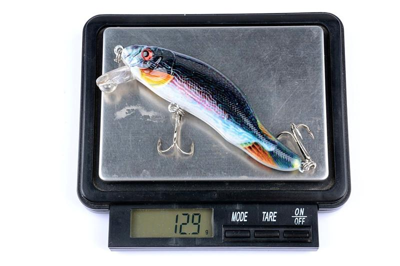 Hot 3D Eyes Deep Diving Laser Minnow Bait 9cm 13g Camouflage color ABS Plastic Artificial Fishing Lure Hooks