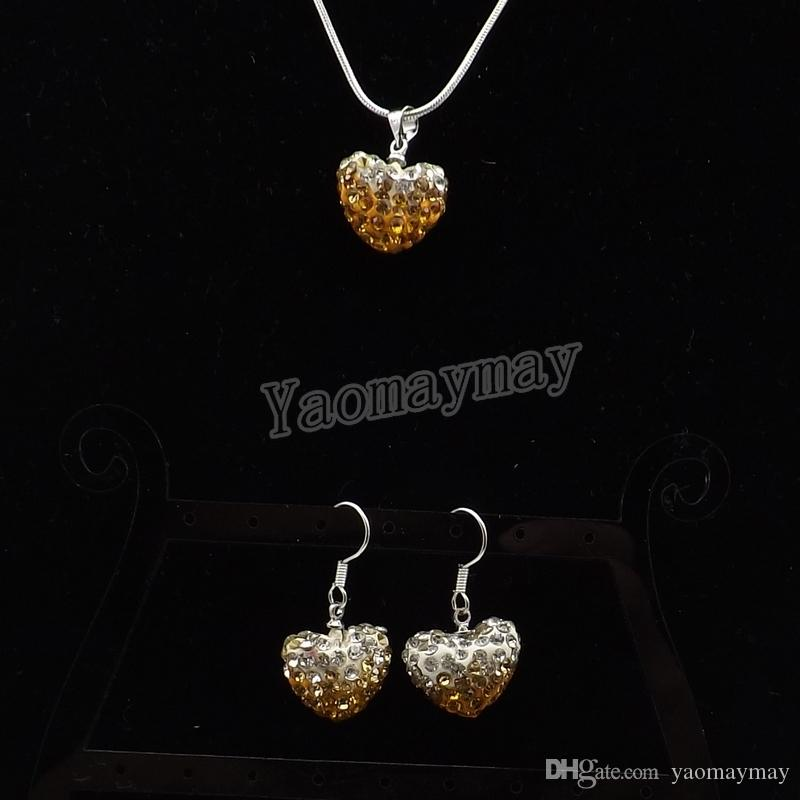 Fashion Heart Shape Pendant Jewelry Set Gradient Gold Rhinestone Earrings And Silver Tone Necklace Wholesale