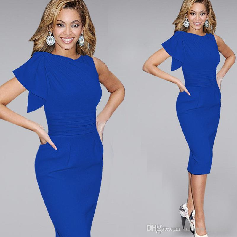 2431fd8d549 Celebrity Style Modern Fahion Women Elegant Ruffle Sleeve Ruched Party Work  Fitted Stretch Slim Wiggle Sheath Bodycon Pencil Bandage Dresses Bodycon  Dress ...
