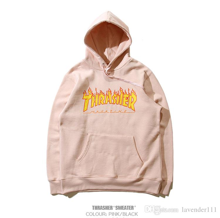 New York Brand Clothing Thrasher Hoodie Sweatshirts Men Women High Quality  1 1 Cotton 100% Pullover Kanye Thrasher Flame Hoodies Online with   38.86 Piece on ... cdbf8c62dd