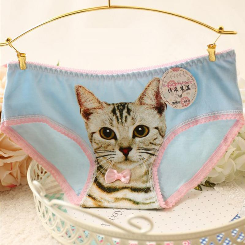 Wholesale Hot Sexy Women 's Underwear Cotton Plus Size 3D Cat Printing Panty Sexy Intimates briefs Underwear