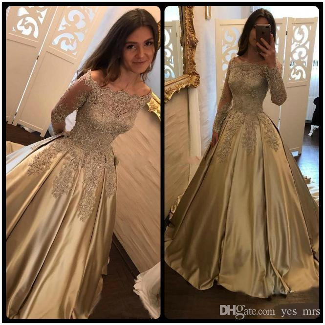d659ae38af6 2017 Arabic New Gold Lace Appliques Beaded Prom Dresses Long Sleeves Off  Shoulder Satin Plus Size Pageant Party Dress Formal Evening Gowns  Affordable Prom ...
