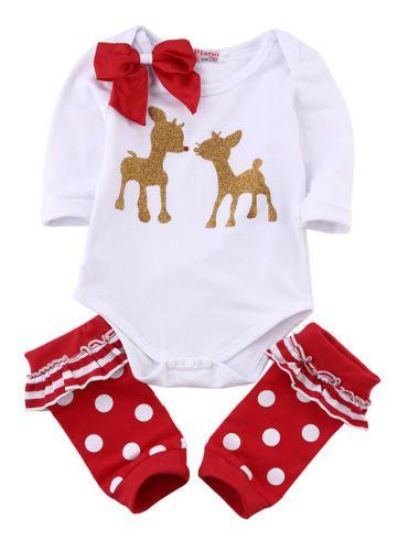 efe372e9d 2019 Christmas Suit Girls Newborn Baby Clothing Set Long Sleeve Deer Romper  + Leg Warmer + Headband Kids Xmas Outfits Set Baby Girl Clothes Set From ...