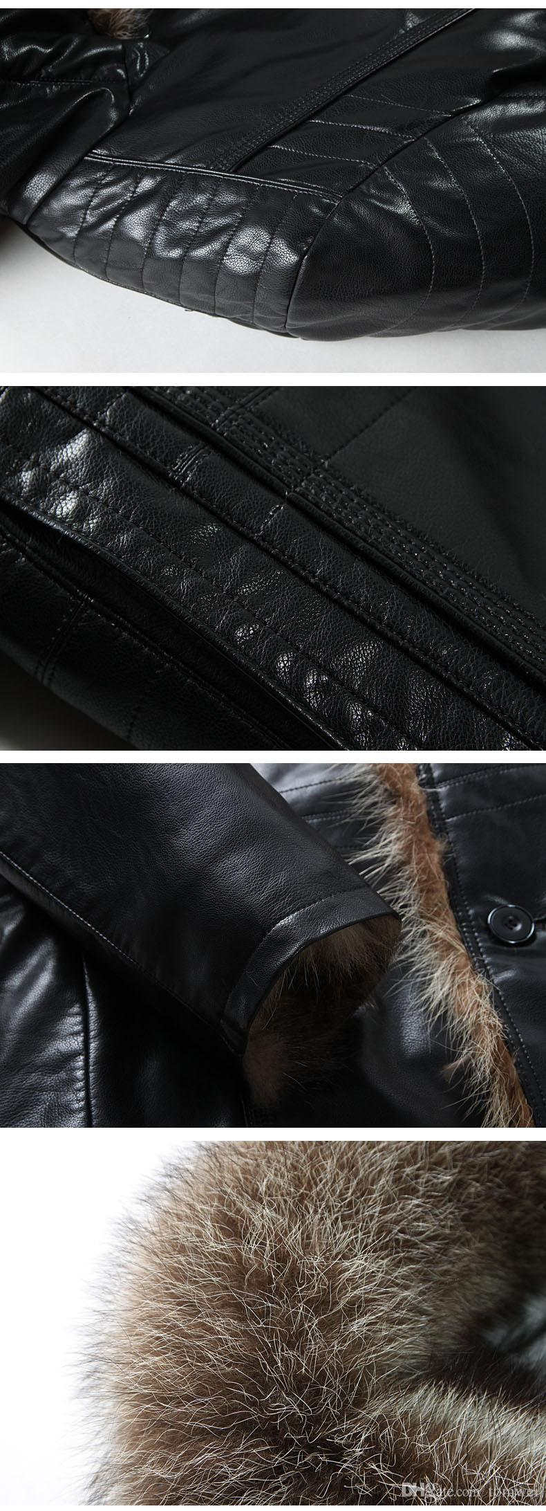 Chaquetas de cuero genuino para hombre Cazadoras de piel de mapache real Shearling Winter Parkas Ropa de nieve abrigo cálido y grueso más talla 4XL 5XL