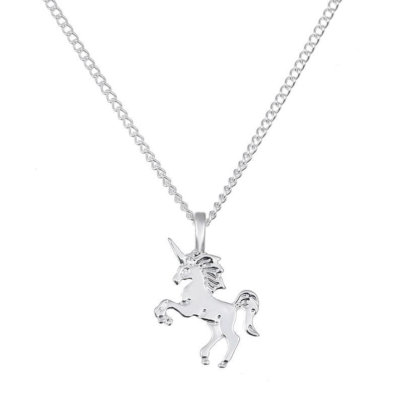 Pendentif Colliers Bijoux pour Femmes Or Argent Licorne Chanceux Clavicule Collier Avec Carte Pendentifs En Alliage D'animal