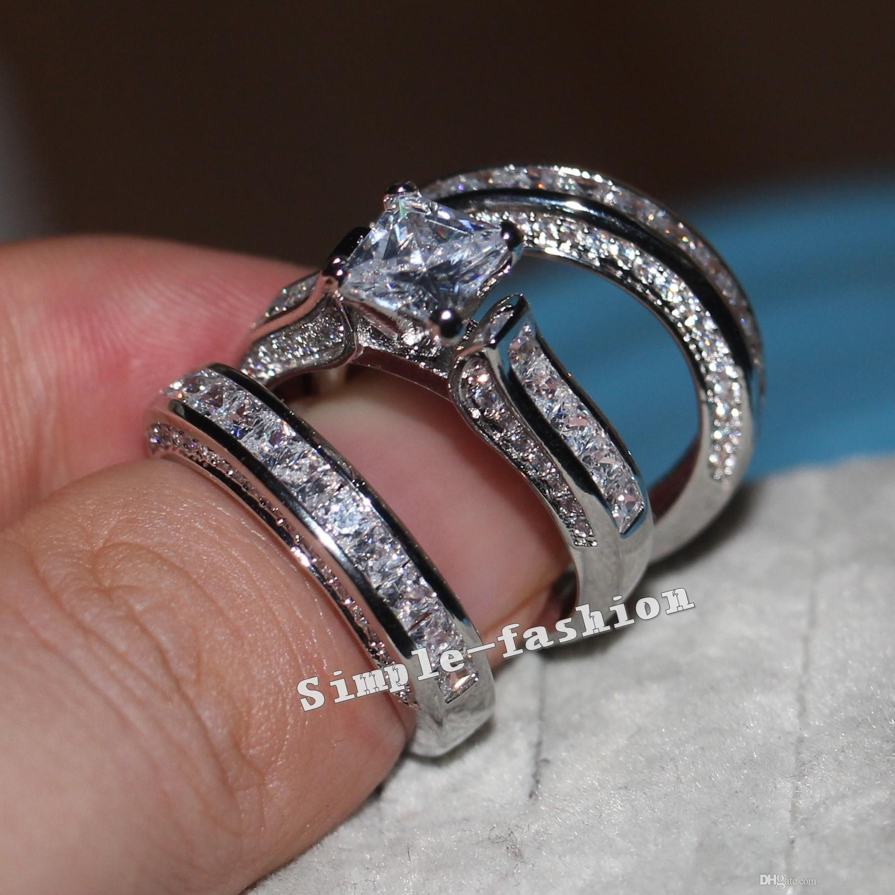 Vecalon Fine Jewelry Princess cut 20ct Cz diamond Engagement Wedding Band Ring Set for Women 14KT White Gold Filled Finger ring