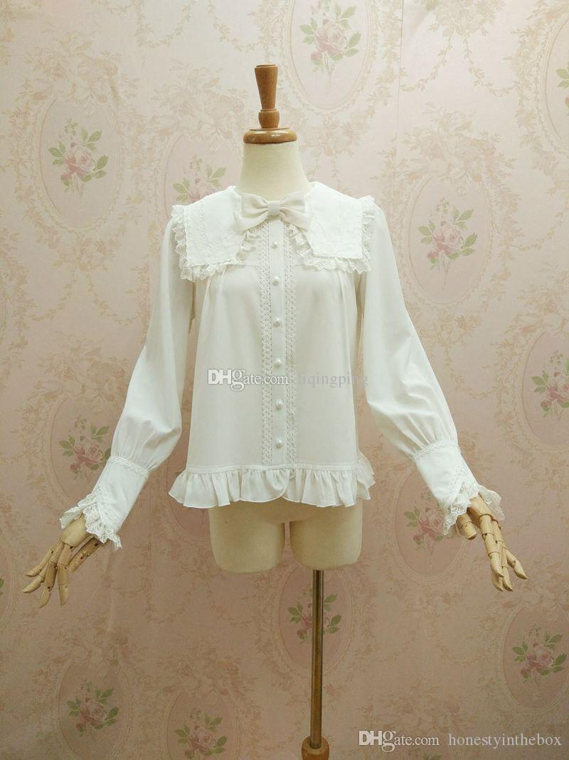 ec522f9875288 Brand New 2017 White Cotton Peter Pan Collar Long Sleeve Lace Gothic Lolita Blouses  for Party Online with  44.32 Piece on Honestyinthebox s Store