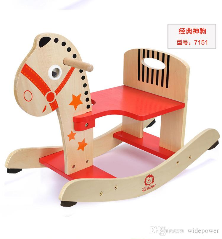 Wooden Rocking Horse Animal Kid Chair Children Baby Vintage Rocker Toy  Infants Baby Kids Developmental Toy Fast Shipping ZD017C