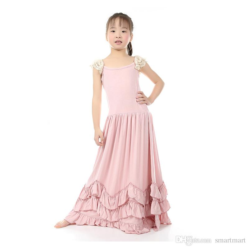 1c004173eb0 2019 Christmas Sweet Kids Girls Ruffles Maxi Dress Lace Sleeve Pink Color  Candy Fashion Dress Princess Party Dress From Smartmart