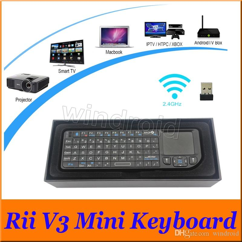 Portable Ultra-thin RII v3 Bluetooth 2.0 Mini Keyboard 2.4G Wireless Laser Pointer With Mouse TouchPad For PC Smart TV Box retail box Free