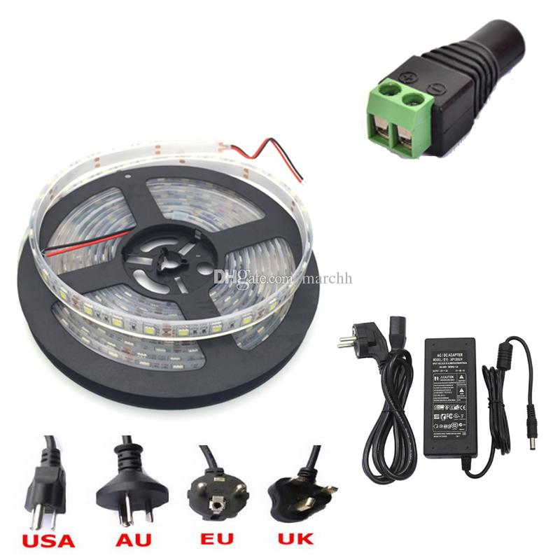 50M Waterproof IP68 SMD5050 LED Strip Light DC 12V + Female DC Connector + 12V 5A Power Supply Adapter Free DHL Shipping