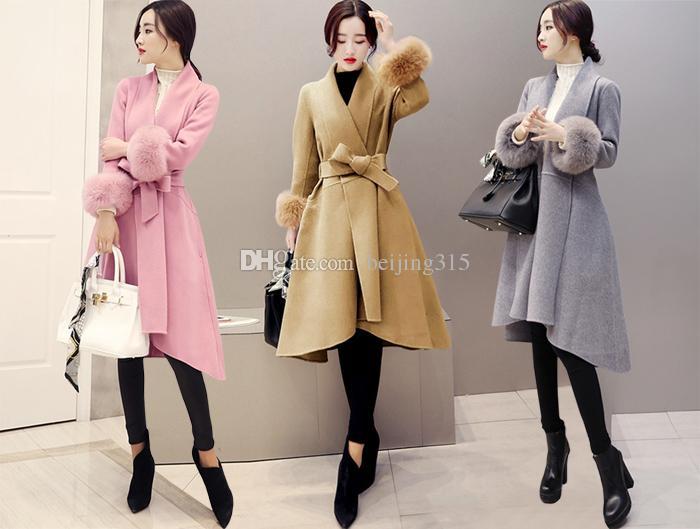 56a19414fea1f 2019 Elegant Plus Size Winter Long Coats Women Fur Sleeves Wool Coat  Asymmetric Cardigan Wool Blends Overcoat Skirts Woolen Outerwear With Belt  From ...