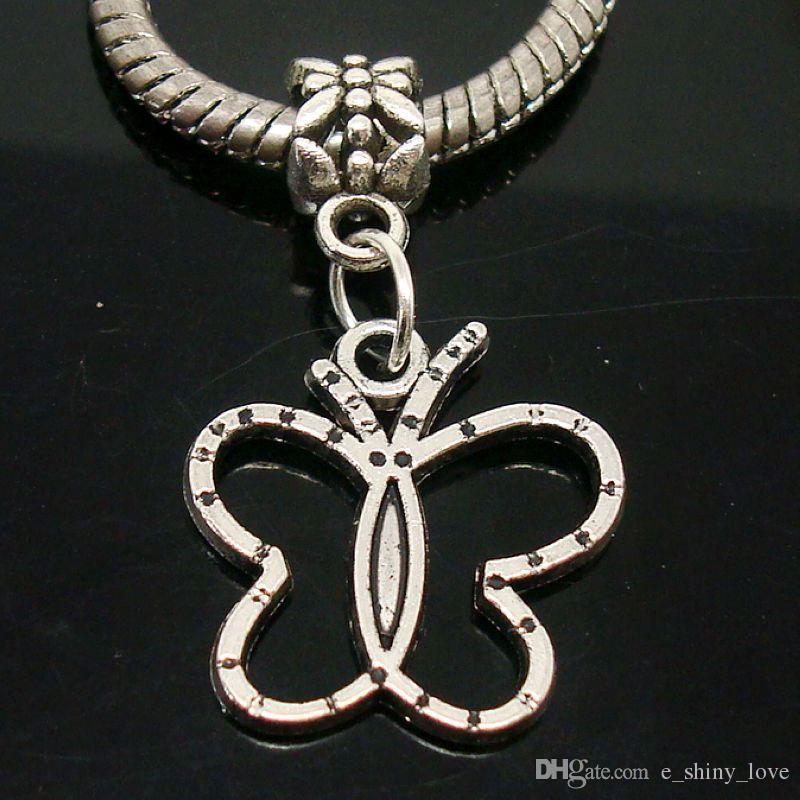 Смешанные древние посеребренные бабочка дизайн кулон прелести подходят Европейский браслет и ожерелье отверстие размер 5 мм