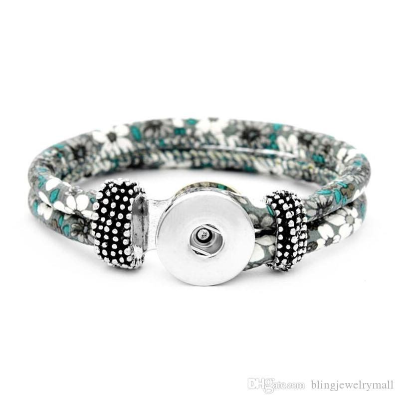 Unisex Bohemian 18mm Metal Snap Pu Leather Flower Button Bracelet Carter Love Bangle Wrist Watches For Women SL8001