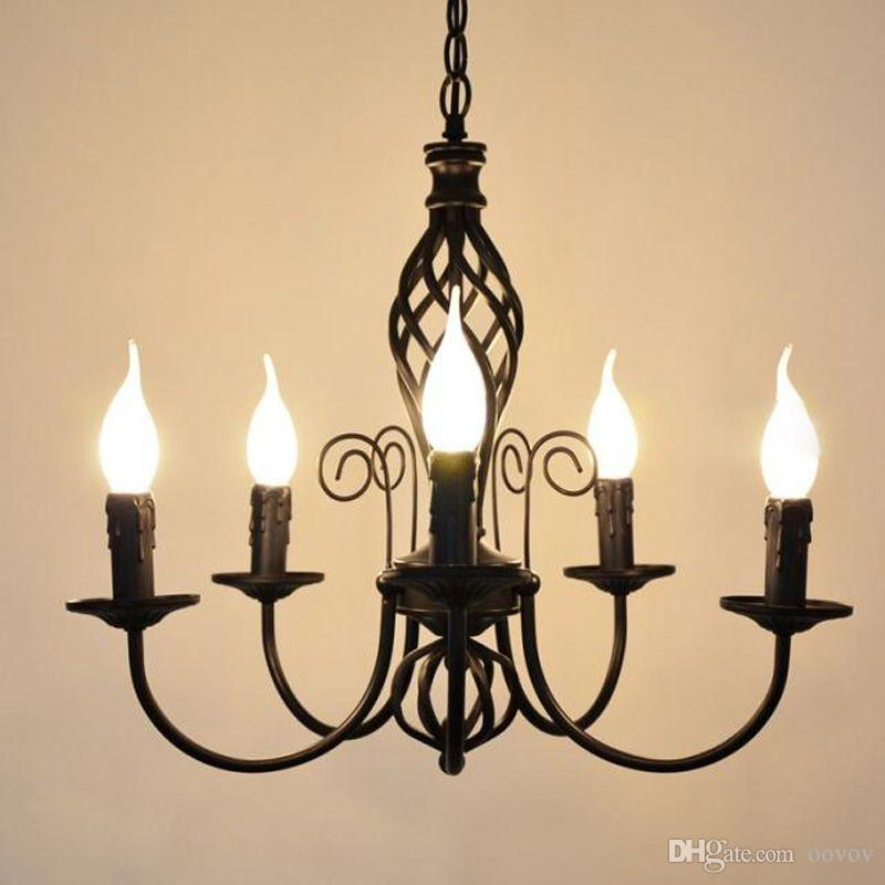 Discount European Iron Candle Living Room Chandeliers Vintage Dining Room  Chandeliers Lights Simple Study Room Chandeliers Lamp Pulley Pendant Light  Cool ...