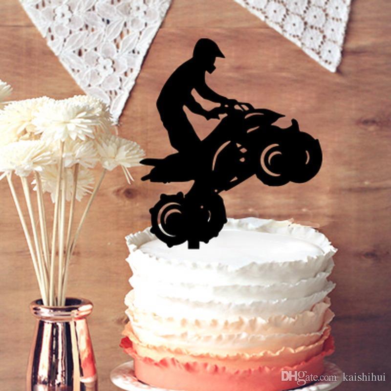 2018 Wedding Cake Topper, Motorcycle Man Silhouette Wedding Cake ...