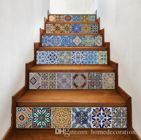 6psc Ceramic Tiles Patterns Diy Stairs Stickers Kids Room Living ...