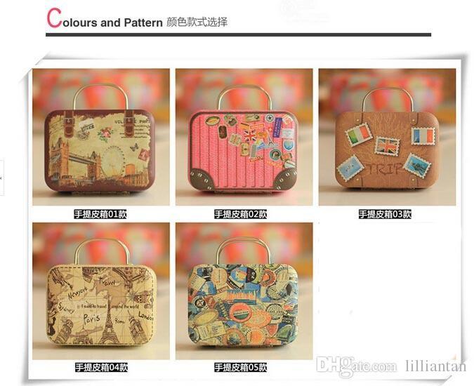 Kreative 6 Arten Retro Weißblech Koffer Süßigkeitskästen Für Hochzeit Event Geschenk Süße Boxen Hochzeit Gunsten Vintage Jewlery Box