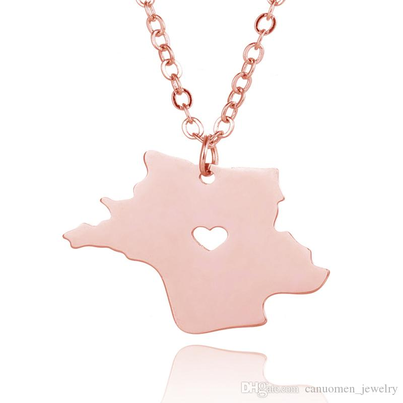France Map Pendant Necklace with Love Heart Geography Geometry Necklaces Stainless Steel Rose Gold Plated Women Charm Jewelry Wholesale