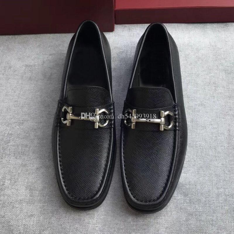 luxury 2017 quality shoes Gancio ornamented moccasin in tumbled calfskin on a rubber sole men casual genuine leather