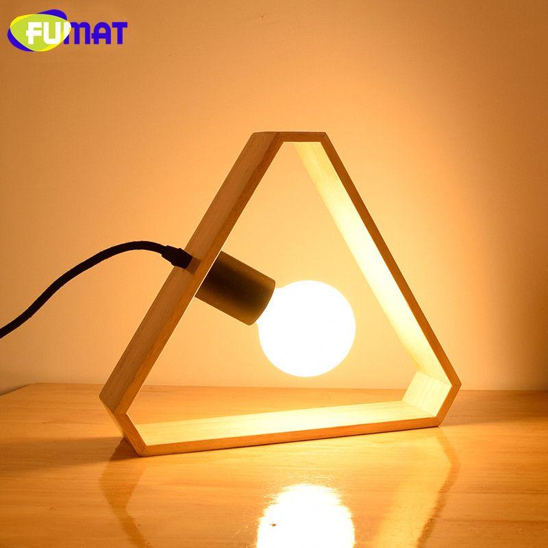 FUMAT Art Wood Triangle Table Lamps Nordic Modern Bedroom Bedside ...