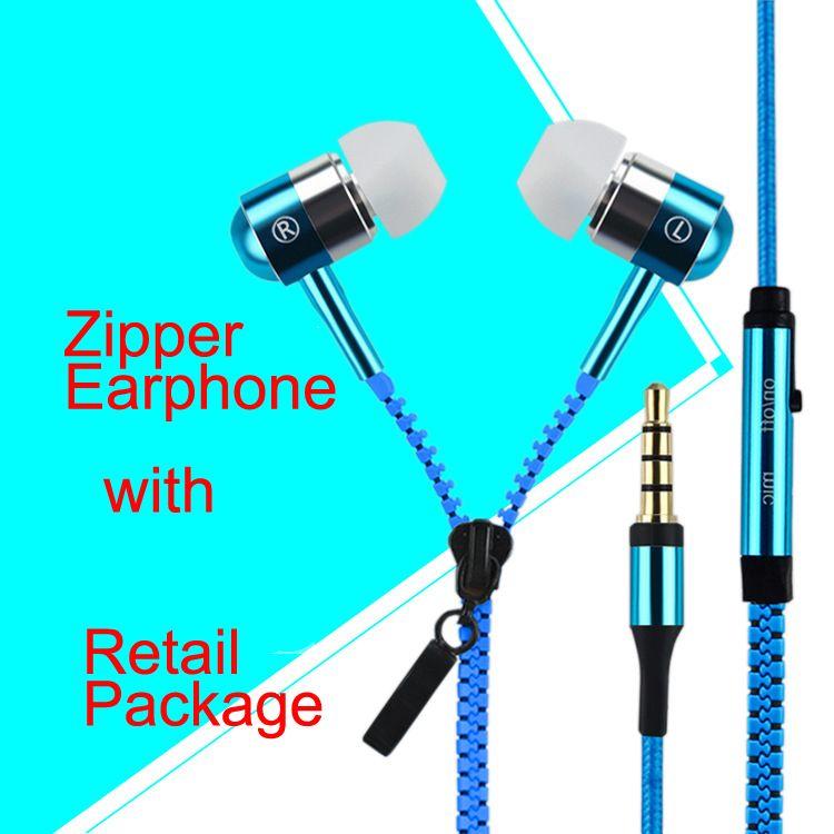 Earphone Zipper Headset 3.5mm Jack Earbuds In Ear Headphone For ...