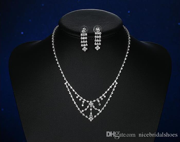 Hot Classic Elegant Wedding Jewelry Set Rhinestone Alloy Bridal