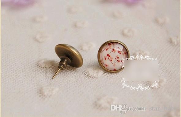2016 Wedding Earing 12mm Lotus Flower Cherry Big Girls Time Gem Crystal Ear Stud Brief Fashion Grace KB338
