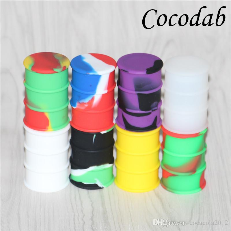 silicone oil barrel container jars dab wax vaporizer oil rubber drum shape container 26ml large silicon dry herb dabber tool FDA approved