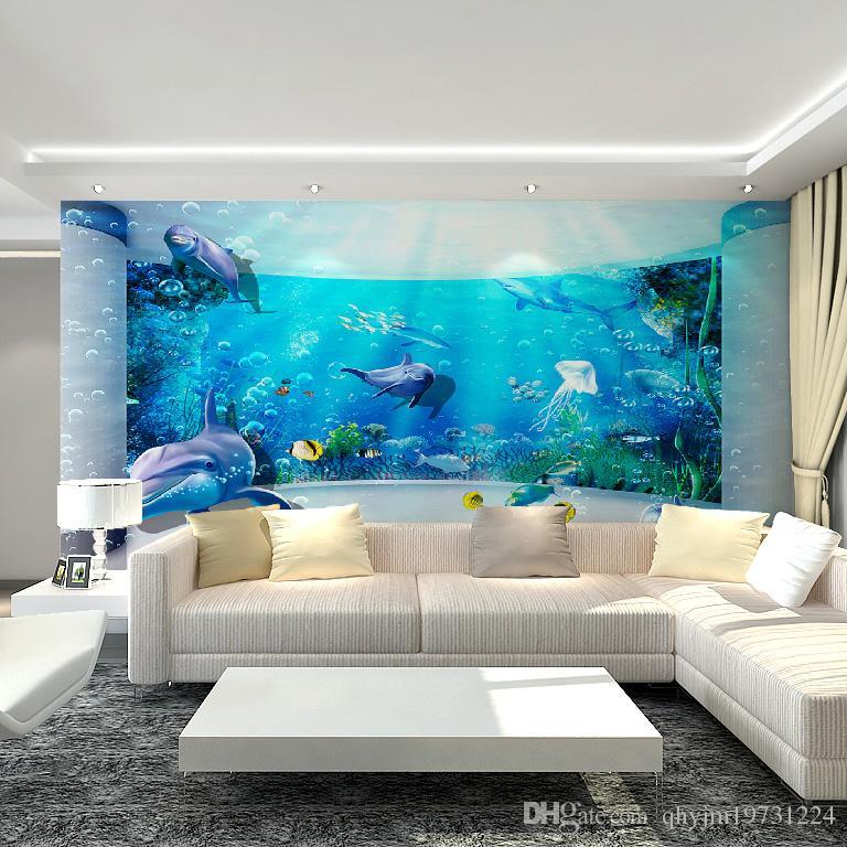 Three Dimensional Underwater World Mural Wallpaper Decorative Art Indoor Perspective Large Dolphin Wall Children Bedroom Sticker Ar Widescreen