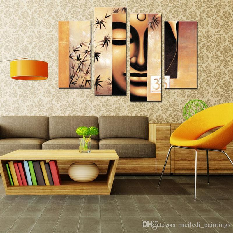 discount modern buddha paintings 4 panel canvas art form printing