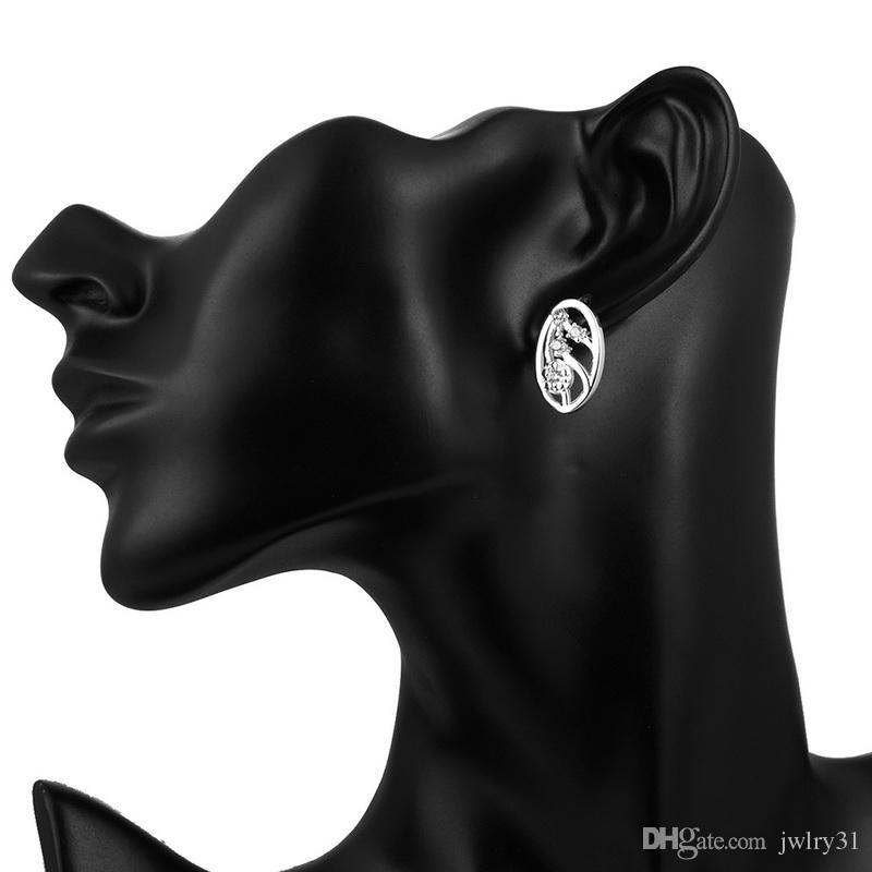 Mode Unique Nouveauté Percé Ellipse Swarovski Elements Cristal Boucles D'oreilles Pour Les Femmes Plaqué Solide Argent 925 Boucle D'oreille Boucle D'oreille Fleurs Bijoux