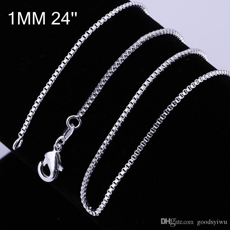 """Fashion 925 Silver Beautiful Square Chains 1mm 16""""18""""20""""22""""24"""" Thin Silver Plated Box Bike Pendant Chain For women and Men Jewelry C007"""