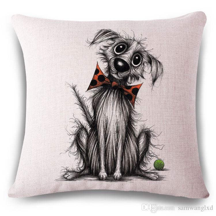 Animal cushion cover Sketch Dog for children Decorative Cushion Covers for Sofa Throw Pillows Car Chair Home Decor Pillow Case almofadas